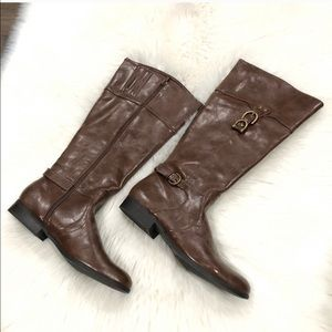 NWT Faux Leather Riding Boots Brown Knee High 8.5